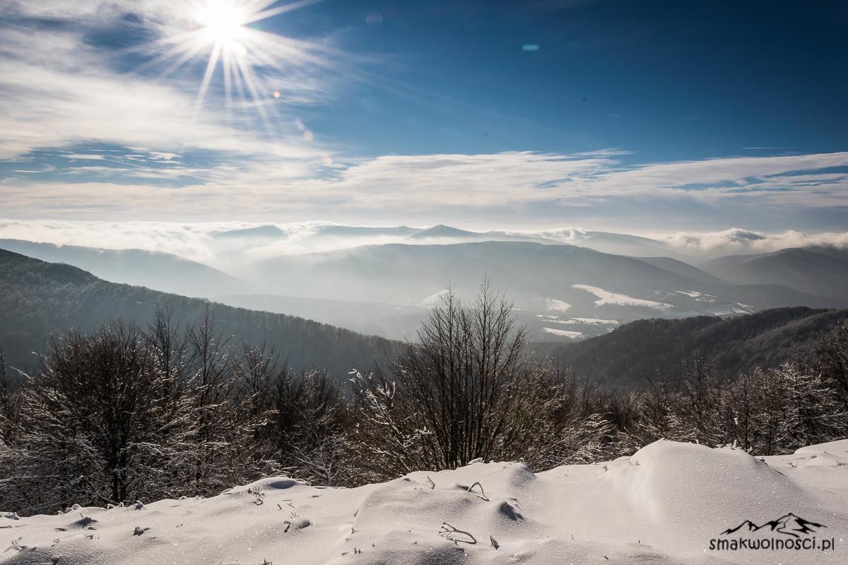 połonina wetlinśka bieszczady zimą