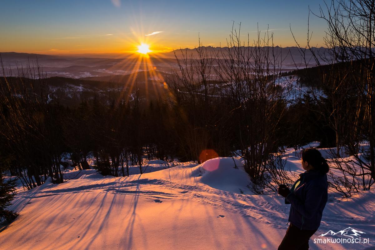 wschód słońca w beskidzie żywieckim