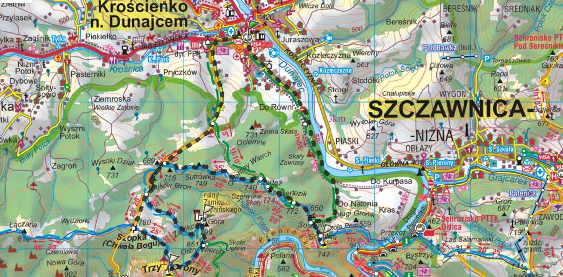 mapa pieniny opis trasy