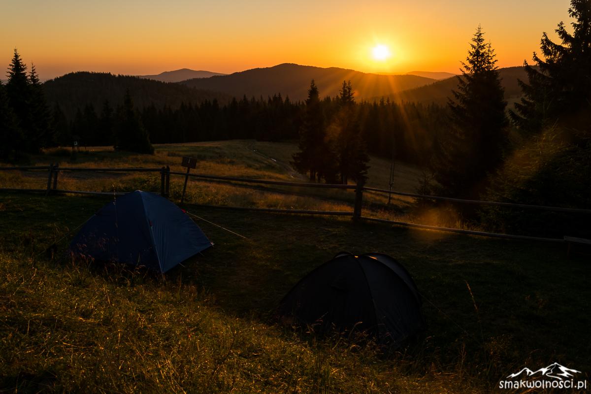 wschód słońca z Turbacza